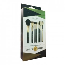 NEE CARA GOLDEN BRUSH 8 PIECE WITH LEATHER TRAVEL POUCH