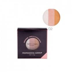 NEE CARA Shimmer Triple Eyeshadoow Professional Makeup no.02 4.8g